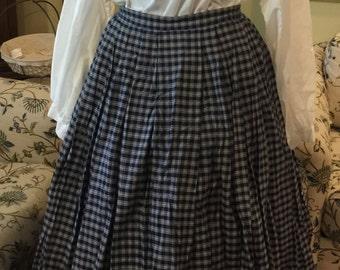 """Civil War era 1860's blue plaid skirt with 32"""" waist"""