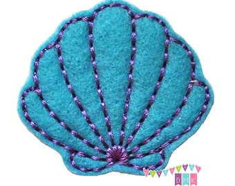 Seashell Applique Purple Stitching on Brite Blue Felt Embroidered Embellishment Clippie Cover SET of 4 - Multiple Sets Available