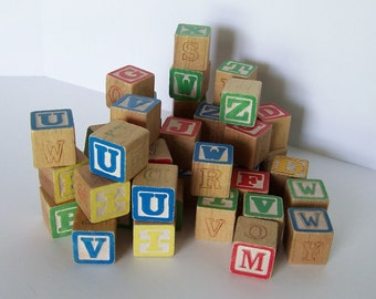 Alphabet Wooden Blocks Nursery Decor Children's Blocks, for Crafts Display Upcycling, Vintage Primary Colors Letters and Numbers Lot of 44