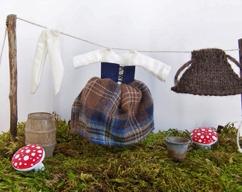 Fairy Garden Accessory, Outlander Scottish Highlands Clothesline for your Fairy Castle, Dress, Stockings and Wool Cape for your Fairy Garden