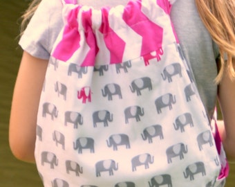Kids backpack in elephant print with pink chevron.