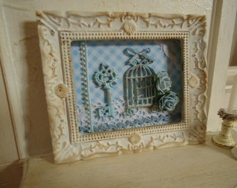 Shabby Chic framed picture. Shabby chic style. Dollhouses. 1/12th scale