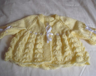 hand knitted baby cardigan 0-3 months King Cole big value baby dk in lemon