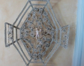 Antique French handmade glass beaded flower wreath 1900s French glass beading beadwork memorial funeral cemetery wreath beadworking w cherub