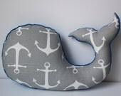Modern boys nursery WHALE pillow, cobalt royal blue grey gray baby, modern nautical anchor, plush stuffed shower gift present