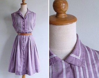 20% CNY SALE - Vintage 1950's Kay Windsor Purple Pintuck Striped Cotton Dress L or Xl