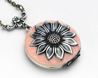 Locket Necklace for Women, Rose Quartz, Pink Sunflower Necklace, Enamel Jewelry, Best Friend Gift, Gift For Her