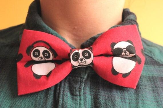 panda bowtie bow tie black and white