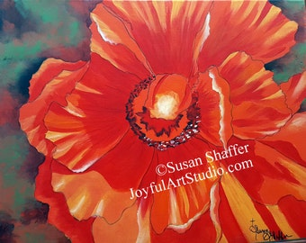 Gorgeous Orange Poppy Acrylic Painting