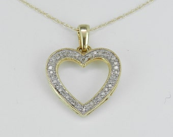 "Diamond Heart Pendant Necklace Yellow Gold Chain 18"" Wedding Gift"