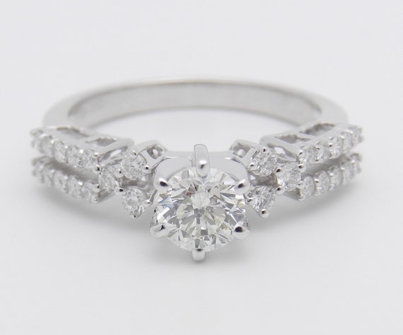 1.15 ct Diamond Engagement Ring 18K White Gold Round Genuine Natural Size 7.25