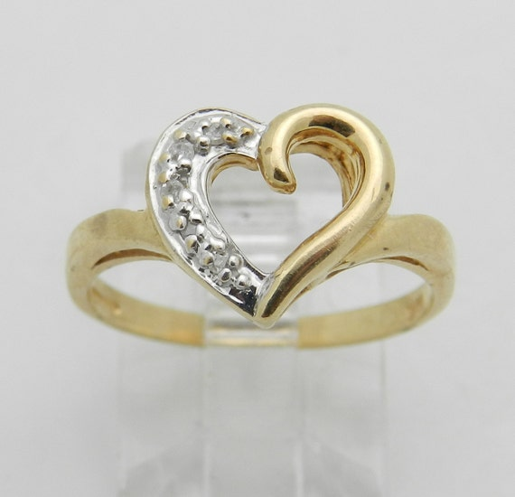 Diamond Heart Ring Promise Ring Yellow Gold Graduation Gift Size 6