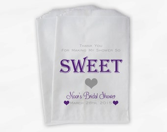 Day So Sweet Candy Buffet Treat Bags - Personalized Bridal Shower Favor Bags in Purple and Gray - 25 Custom Paper Bags (0129)