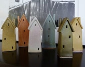 Ceramic House Sculptures in Various Colors
