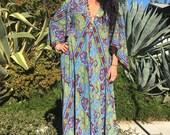 Vintage Cotton Dress// 1970s Gauze Tapestry Dress//Bohemian Gauze Caftan// Handmade Indian Kaftan/Angel Sleeves