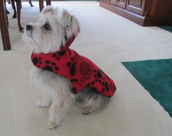 X-Small Red with Black Paw Print Fleece Dog Coat