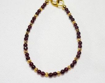 Garnet Gold Bracelet / 4mm garnet beads / gold plated beads / semi precious stone beads / January Birthstone / January Star