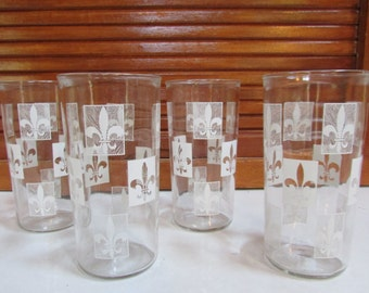 Vintage Fleur De Lis Glassware