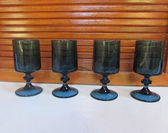 Blue Topaz Juice Glasses Goblets Set of 4