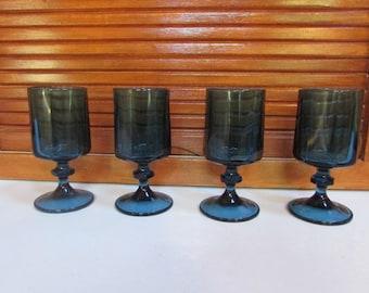 Blue Topaz Juice Glasses Goblets Set of 4 Vintage