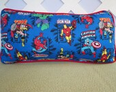 Super Heroes Pillow in Blue Red / Little Boys Pillow / Character Pillow / Boys Room Decor / Ironman Captain America Spiderman Pillow
