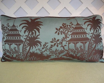 Oriental Pillow Cover in Blue and Brown / Blue Brown Pillow Cover / Accent Pillow / Decorative Pillow