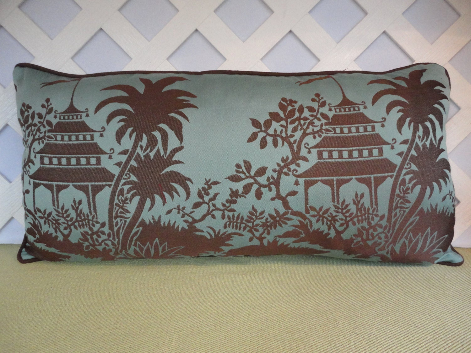 Blue And Brown Decorative Pillow Cover : Oriental Pillow Cover in Blue and Brown / Blue Brown Pillow
