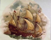 Vintage Water Mount Decals - Old Fashioned Ship Galleon Barque Frigate - 1 Large Decal