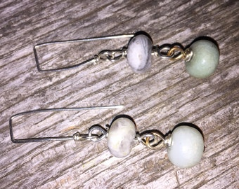 Handcrafted Gemstone Earrings , Blue Amazonite and Leopard Jasper, handcrafted Earring Wires Artisan handmade jewelry