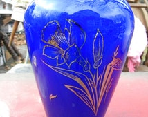 great shape vintage mid century cased glass COBALT CZECHOSLOVAKIA silver daffodil floral