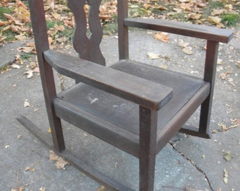 great shape vintage antique 1910s 1920s child youth MISSION rocker ROCKING CHAIR   brn
