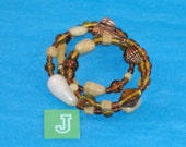SPECIAL SALE - Amber, Sand, and Cream Beads, Copper Fluted & Scribed Spacers on Spring Wire Bracelet - Fits Any Wrist - J