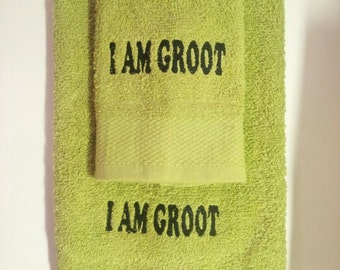 I am Groot inspired embroidered wash cloth