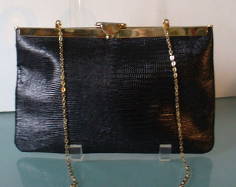 Vintage Etra Lizard Embossed Leather Folding Clutch Bag