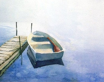 Blue Boat  Watercolor Print fine art rowboat and dock in blue and white  8.5 x 14