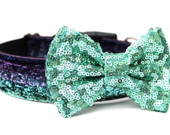 Dog Collar Bow Add-On Aqua Sparkle Bow for Dogs