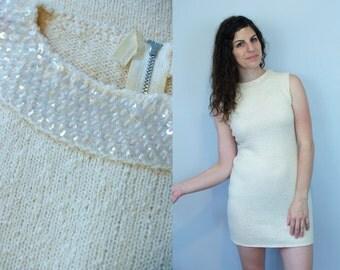 1970s Vintage Handmade Ivory White Sleeveless Sweater Short Mini Dress w/ Sequin Collar / Body Con Bandage Dress Knitwear / Small Medium S M