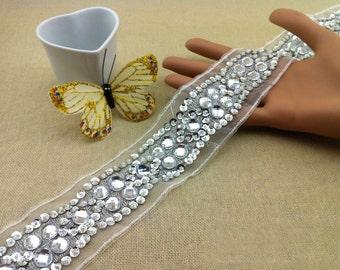 "1 yard 5cm 1.96"" wide sequins Rhinestones crystal tulle bridal wedding dress tapes lace trim ribbon fers free ship"