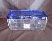 Refrigerator Dish by Hazel Atlas / Criss Cross Refrigerator Dish with Cobalt Blue Lid