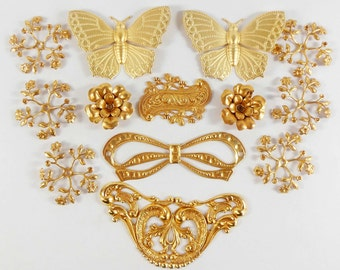 Assorted Leaf and Flower Stampings, Assorted Brass, Russian Gold Plate, Vintage Style, US Made, Nickel Free, 27 - 85mm, Item08249
