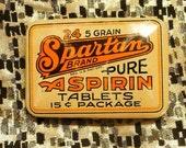 Spartan Aspirin Tin Original Unused Old Stock 1900s 1910s 1920s Pharmacy Medicine Nurse