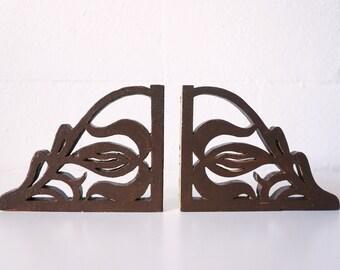 Vintage Wood Brackets | Set of 2 | Brown | Indian Design