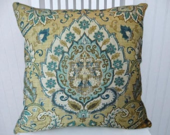 Blue Brown Cream Pillow Cover- Decorative Throw Pillow Cover, Floral-18x18 or 20x20 or 22x22- Accent Pillow
