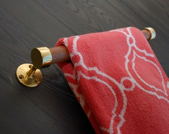 Polished Brass and Honduras Mahogany Towel Bar, Made To Order