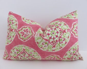 14x22 Pillow Cover- Suzani pillow - Pillow Cover- Pillow Cover Green - Pink Pillow -Pillow- Green Pillow -  designer Pillow