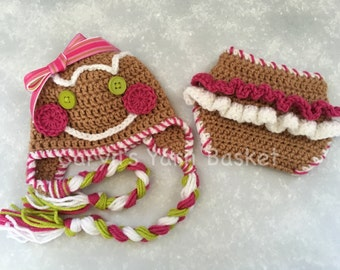 READY TO SHIP Baby Girl Gingerbread Christmas Hat, Ruffled Butt Diaper Cover Set, Newborn, 0-3, 3-6, Photography Prop