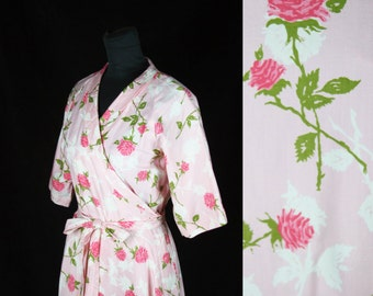 1950s Robe // Pink Rose Polished Cotton Dressing Gown Wrap by Loungees