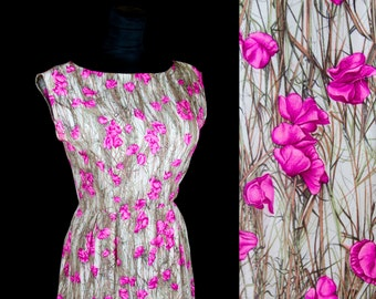 1960s Dress // Sweet Pea Silk Floral Print Garden Party Dress