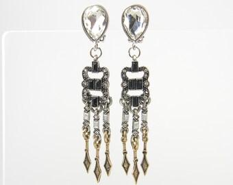 Dangle Clip on Earrings Antique Gold Silver Rhinestone Teardrop Mixed Metal Vintage Style Clip Earrings