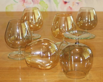 Stunning, Set of 6, Vintage Iridescent, Small, Gray and Yellow Brandy Glasses, Snifters